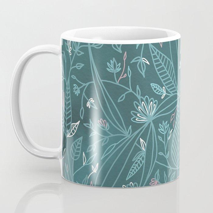 Floral Weave Teal Coffee Mug