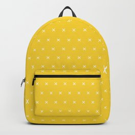 Yellow and white cross sign pattern Backpack