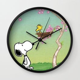 Woodstock in the Cherry Blossoms Posters Wall Clock