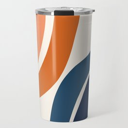 Abstract Shapes 34 in Burnt Orange and Navy Blue Travel Mug
