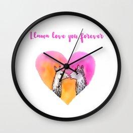 Llama love you forever Wall Clock