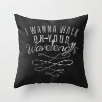 lyrics Throw Pillows featuring LYRICS - Wavelength by Molly Freze