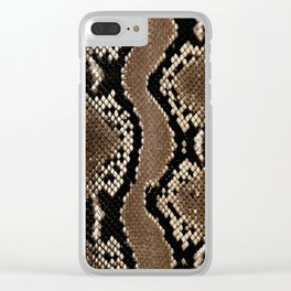 Python Skin Pattern Snake Skin Brown Animal Print Home Decor Clear iPhone Case