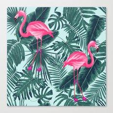 tropical pink flamingo Canvas Print