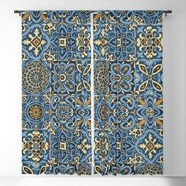 Peranakan Art Nouveau Tiles (Mixed Patterns in Sand/Sea) Blackout Curtain