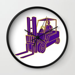Forklift Truck Mono Line Wall Clock