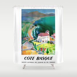 1946 France Cote Basque Railway Travel Poster Shower Curtain