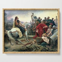 Vercingetorix Throws Down His Arms At The Feet Of Julius Caesar Serving Tray