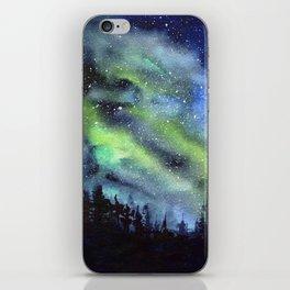 Galaxy Nebula Watercolor Northern Lights Aurora Borealis iPhone Skin