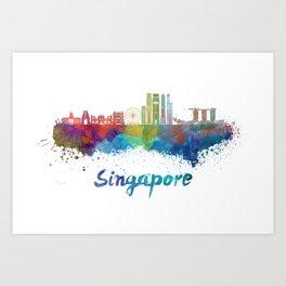 Singapore V2 skyline in watercolor Art Print