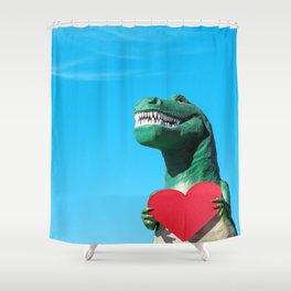 Tiny Arms, Big Heart: Tyrannosaurus Rex with Red Heart Shower Curtain