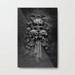 Three Skulls On A Tombstone Metal Print