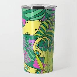 Bohemian Green Tropical Jungle Snakes Travel Mug