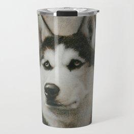 Siberian Husky portrait Travel Mug