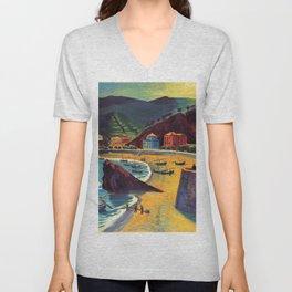 Cinque Terre al Mare Italian Coastline by Hermann Max Pechstein Unisex V-Neck