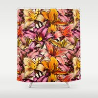 bedding Shower Curtains featuring Daylily Drama - a floral illustration pattern by micklyn