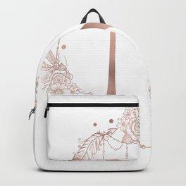 Letter N Rose Gold Pink Initial Monogram Backpack