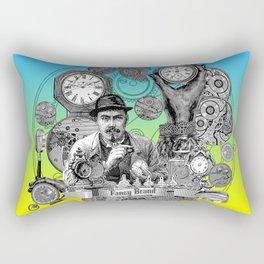 time, clock, watch, repair, shop, man, fixing, vintage, engraving, Rectangular Pillow