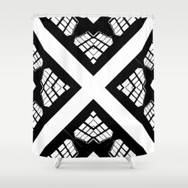 Stained Glass FortyFive Black + White Shower Curtain