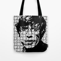 stephen king Tote Bags featuring Stephen Hawking by Silvio Ledbetter