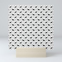 Cute Black Scottish Terriers (Scottie Dogs) & Hearts on White Background Mini Art Print
