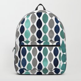 Oval Stripes Aqua and Navy Backpack