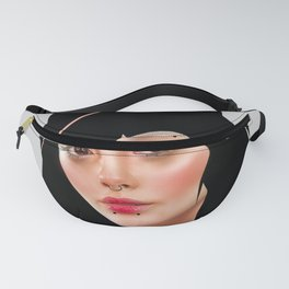 Portrait of a girl, with a bob haircut and cat ears. Fanny Pack