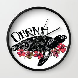 Hawaiian Ohana Turtle Wall Clock