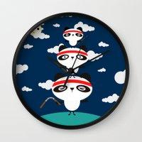 pandas Wall Clocks featuring Ninja Pandas by Goldnessie
