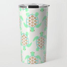 Sea turtle green pink and metallic accents Travel Mug