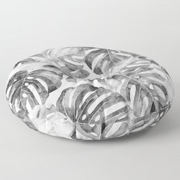Black and white Monstera leaves Jungle leaves Palm leaves Tropical Floor Pillow