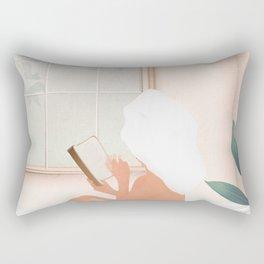 Reading Girl in Bathtub Rectangular Pillow