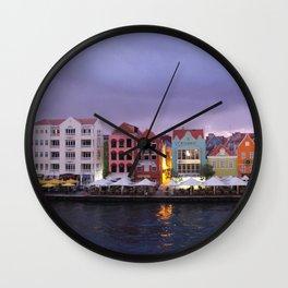 Curacao: Willemstad in purple Dusk Wall Clock