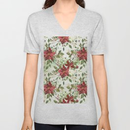Botanical burgundy yellow green watercolor holly floral Unisex V-Neck