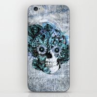 ohm iPhone & iPod Skins featuring Blue grunge ohm skull by Kristy Patterson Design