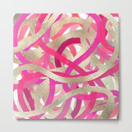 Girly Pink Gold Painted Swirly Abstract Brushstrokes Metal Print