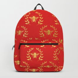 Red & Gold Bee Pattern Backpack