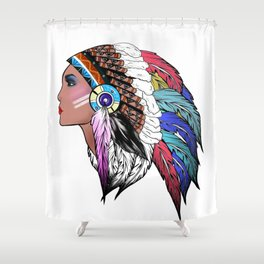 Native American woman,Indian American design Shower Curtain