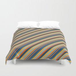 Indigo Orange Sky Blue Inclined Stripe Duvet Cover