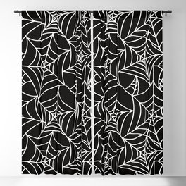 Gothic Halloween - white spider webs on black background Blackout Curtain