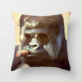 Gorilla in the Mist Throw Pillow