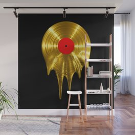 Melting vinyl GOLD / 3D render of gold vinyl record melting Wall Mural