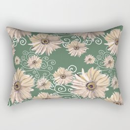Beige Gerber Daisies on Green Rectangular Pillow