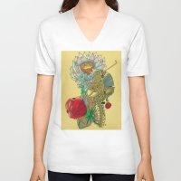 writer V-neck T-shirts featuring The Writer by Theo Szczepanski