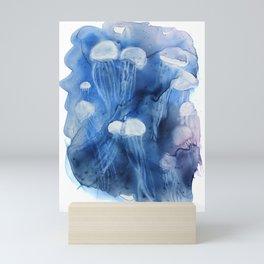 Jellyfishes in Indigo Mini Art Print