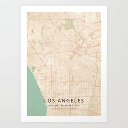 Los Angeles, United States - Vintage Map Kunstdrucke