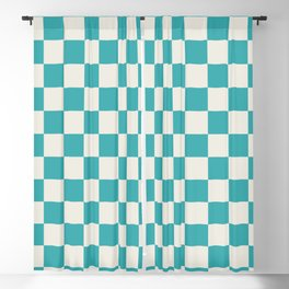 Teal Turquoise Aqua and Alabaster White Medium Checkerboard Pattern - Aquarium SW 6767 Blackout Curtain