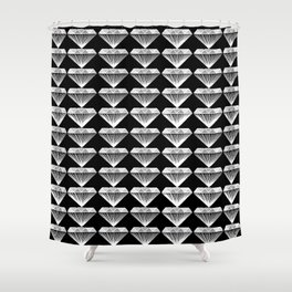 Diamonds Pattern - Black and White and Grey Shower Curtain