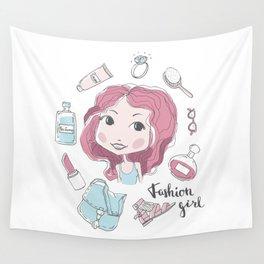Cute stylish girl portrait Wall Tapestry