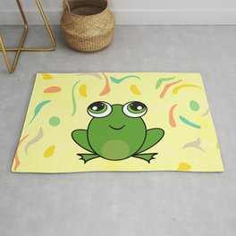 Cute frog looking up Rug